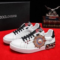DCCK D&G DOLCE & GABBANA Men's Leather Fashion Sneakers Shoes