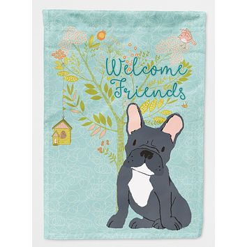 Welcome Friends Black French Bulldog Flag Garden Size BB7632GF