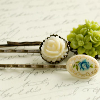 Flower Bobby Pins Floral Hair Accessories Ivory Rose Hair Pin Woodland Romantic Country - Set of three (3)