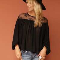 West Coast Wardrobe On the Horizon Lace Shoulder Top in Black