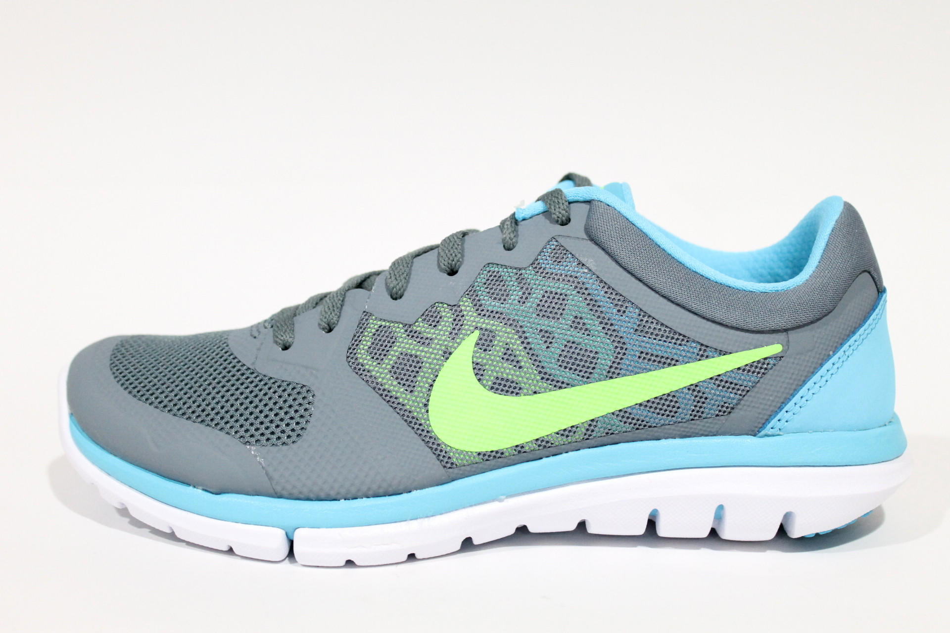 Nike Women s Flex 2015 Run Grey Blue Lime Running Shoes 709021 400 98cce4dfd873