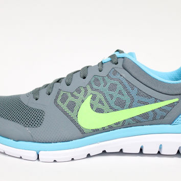 Nike Women's Flex 2015 Run Grey/Blue/Lime Running Shoes 709021 400