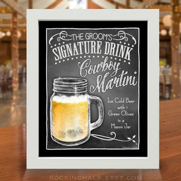 Rustic Barn Country Wedding Decoration | Signature Drink Sign | As-Is or Personalized Wedding Keepsake | Cowboy Martini Drink in a Jar Sign