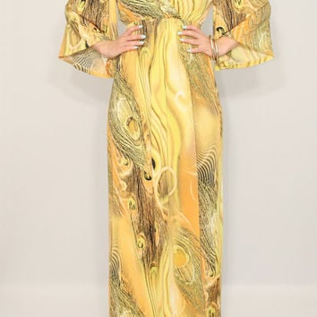 Caftan dress Long yellow dress Maxi dress Kimono dress Women Peacock print