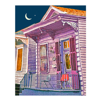 New Orleans Street Scene, Colorful Houses art,  Funky houses, Moon and Venus, NOLA, 8x10 11x14 16x20 - Korpita