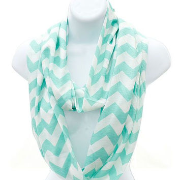 Chevron Mint Infinity Scarf Pattern on Both Sides with Free Embroidery