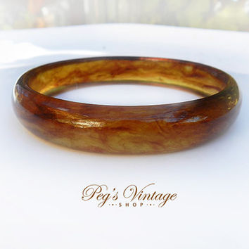 Vintage Lucite Faux Tortoise Shell Bangle Bracelet, Vintage Jewelry