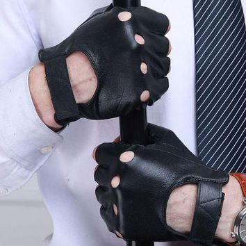 Half Finger Leather Gloves Fingerless Sports Cycling Driving Mittens