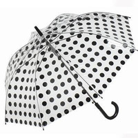 Black Spotted PVC Umbrella - Unique Vintage - Cocktail, Pinup, Holiday & Prom Dresses.