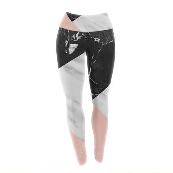 "Cafelab ""Marble Collage With Pale Pink ""  Gray Pink Yoga Leggings"