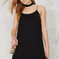 Time After Time Feather Trim Mini Dress - Black