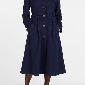Textured knit fit-and-flare coat