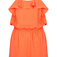 Ruffle Strappy Playsuit - Tangerine