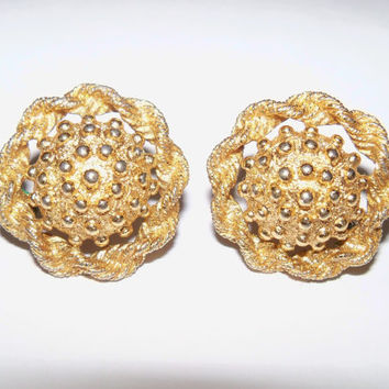 Vintage Earrings Monet Gold Tone Clip On Bride Wedding Jewelry Holiday Special Occasion Gift Idea