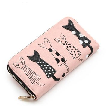 2017 New fashion Women Wallets female cards holder cute cartoon cats leather wallet coin purses girls clutch Long zipper Wallet