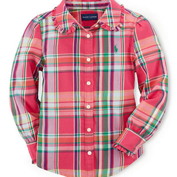 Ralph Lauren Childrenswear Girls 2-6x Plaid Button Down Shirt