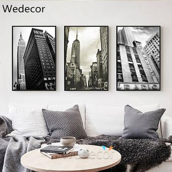 Black White New York Classical Architecture Building Print Painting Home Decor Wall Art Picture Poster for Living Room