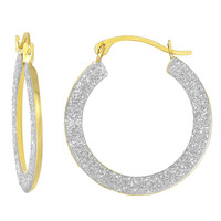 10K 2 Tone Yellow And White Gold Glitter Round Hoop Earrings
