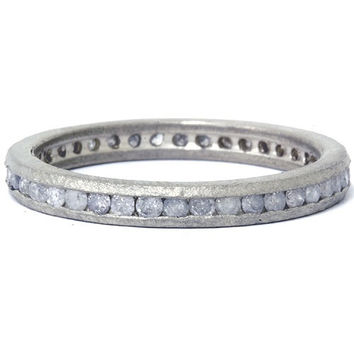 Raw Diamond Eternity Stackable 1/2CT Wedding Anniversary Ring Band Channel Set 14K White Gold Size (4-9)