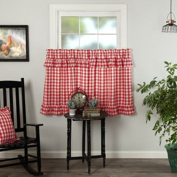 Annie Red Buffalo Check Ruffled Tier Curtains 36""