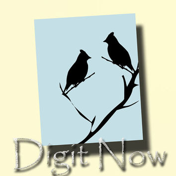 LOVE BIRDS Animal Silhouette Kids Room Decor Instant Download Art Printable Nursery Wall Decor Customizable S13061