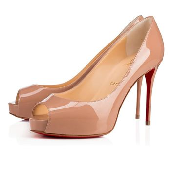 Christian Louboutin Cl New Very Prive Nude Patent Leather Platforms 3170637pk1a