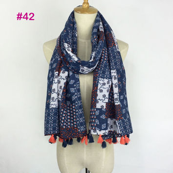 Hot Selling Very Pretty Printing Design Hijab Shawl High Quality Aztec Tribal Scarf Tassel