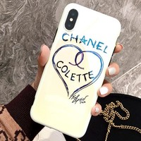 Chanel Popular Delicate Iphone 8plus mobile phone shell Love Pattern iphone 6/7 Blue Light Soft Shell Full Bag Edge Iphone X