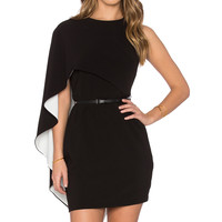 Halston Heritage Asymmetrical Sleeve Mini Dress in Black & Eggshell