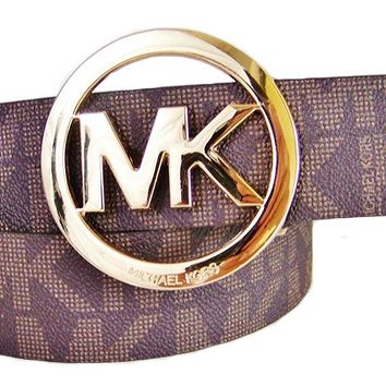 Michael Kors Mk Signature Monogram Logo Gold Buckle Belt Brown Size Large