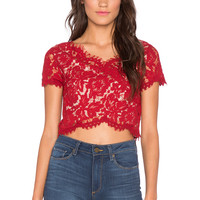 Lucy Paris Bradshaw Lace Crop Top in Red
