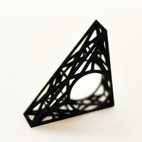 Geometric statement ring - faceted, triangulated, wireframe, lacy, black, architectural, modern, sculptural, 3d printed