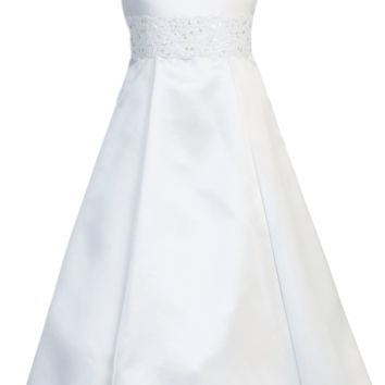 Satin & Lace White A-Line First Holy Communion Dress ( Girls 7 to 14 - Plus Size 8x to 12x )