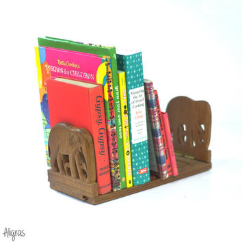 Vintage Wooden Bookends • Elephant Bookends • Expandable Book Rack • Wood Floral Carving • Book Shelf • 1970s Wooden Storage • Elephants