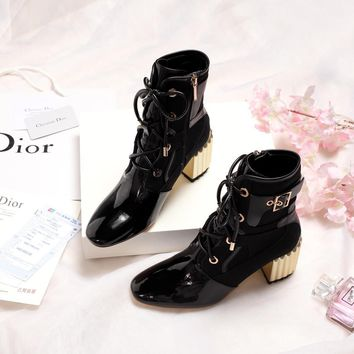Dior Trending Women Black Leather Lace-up Ankle Boots Shoes Best Quality