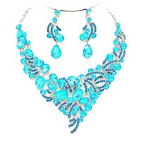 teal Aqua Blue Crystal Statement Necklace Earrings Set Affordable Wedding Jewelry Prom Evening