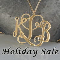 """Monogram Necklace- 2"""" Inch 18k Yellow Gold Plated On Brass 3 Initials Personalized 3 Letters Monogrammed Pendant 2 Loops"""