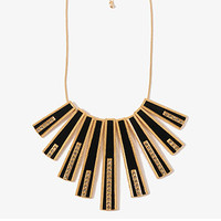 FOREVER 21 Rhinestoned Matchstick Necklace Black/Gold One