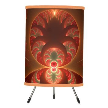 Luminous abstract modern orange red Fractal Tripod Lamp