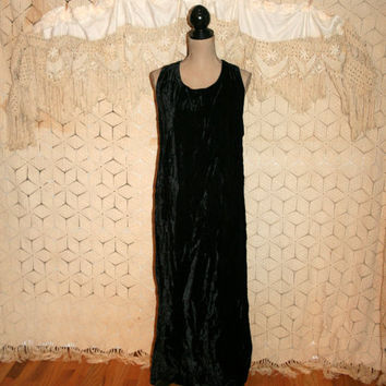 Black Velvet Dress Velvet Maxi Dress Sleeveless Long Black Dress Crushed Velvet Grunge Goth Gothic Size 16 Size 18 XL 1X Plus Size Clothing