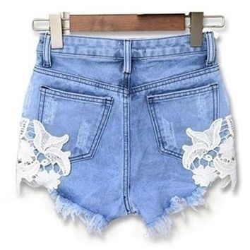 Hot Shorts Women Summer Sexy Hollow Flower Pattern Lace Patchwork Denim Jeans AT_43_3