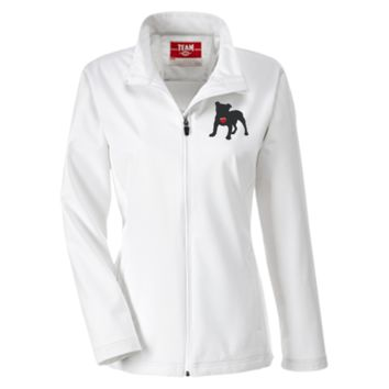 """My Heart"" English Bulldog Embroidered Team 365 Ladies Soft Shell Jacket"