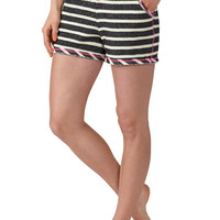 Striped Neon Stitch Shorts - Black/Gray
