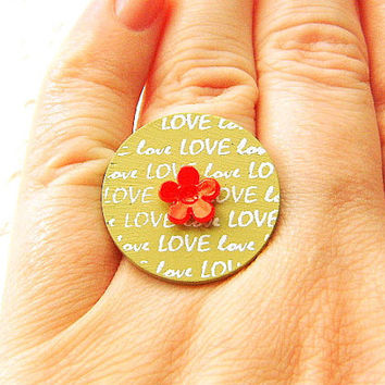 Love Ring Red Flower CIJ Christmasinjuly