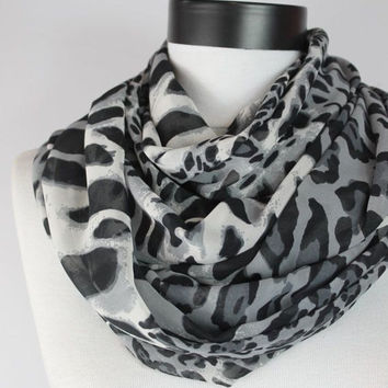 leopard Chiffon scarf,infinity scarf, scarf, scarves, long scarf, loop scarf, gift