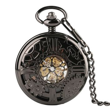Unisex Steampunk Mechanical Hand Winding Black Pocket Watch Hollow Gear Crown Fob Clock With Pocket Chain Gift