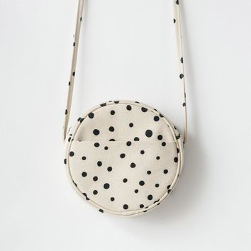 BAGGU Small Canvas Circle Purse Paint Dot