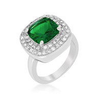 Green Bridal Cocktail Ring, size : 10