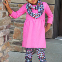 Girls Fall Outfit, Girls Aztec Outfit, Aztec Leggings, Toddler Infinity Scarf, Pink Aztec, Girls Pink Tunic, Personalized Girls Outfit