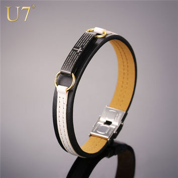 U7 Brand Christian Leather Bracelet Christmas Gift For Brother White Black Bible Verse Cross Cuff Bangle Men Jewelry H1001